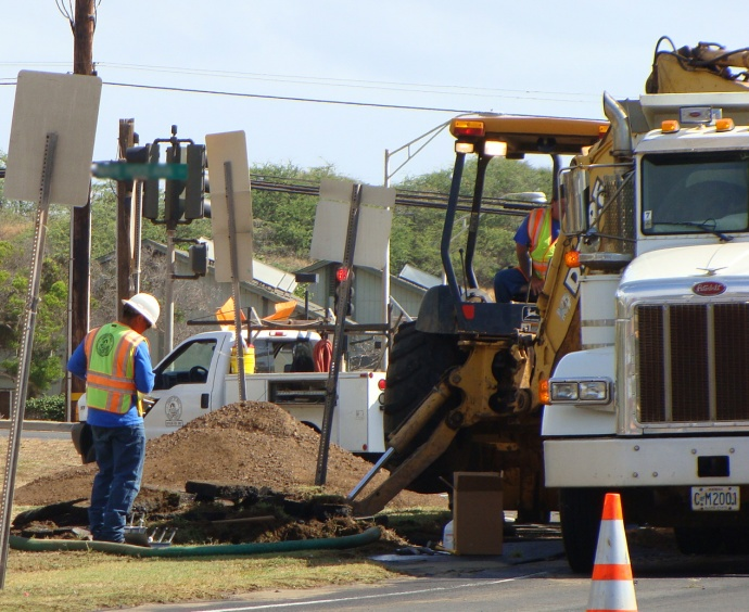 Maui County waterline repairs. File photo by Wendy Osher.
