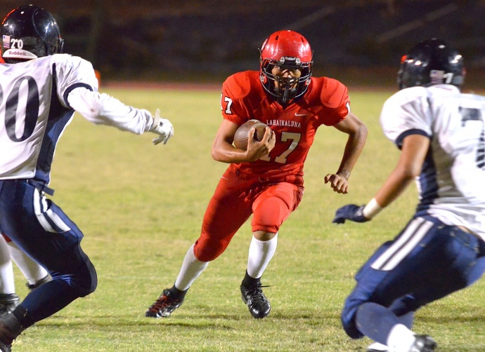 Lahainaluna's Christian Whitehead rushed for two touchdowns and 152 yards. Photo by Rodney S. Yap.
