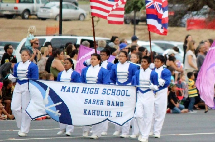 Maui High School Band marching in the 2013 Maui Fair, file photo by Wendy Osher.