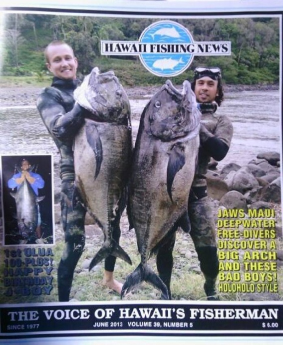 Travis Castillon (right) and partner Olie Shipp holding up their respective ulua's on the June 2013 cover of Hawaii Fishing News magazine. Photo courtesy of Olie Shipp.