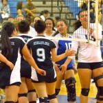 The King Kekaulike and Maui High girls volleyball teams shake hands before their match on Tuesday. The two teams will face each other again in the semifinals of the MIL tournament next Tuesday. Photo by Rodney S. Yap.