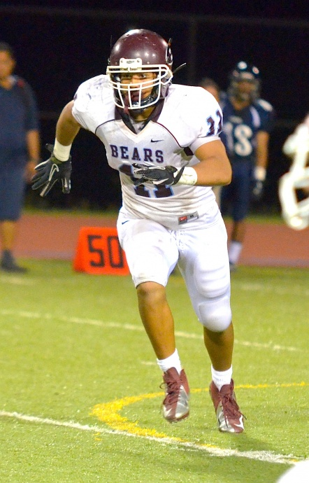 Baldwin middle linebacker Nohea Keahi moves to the ball during Friday's game at Kamehameha Maui. Photo by Rodney S. Yap.