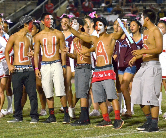 Lahainaluna's students bodies were well represented Friday in their show of support for the school's football team. Photo by Rodney S. Yap.