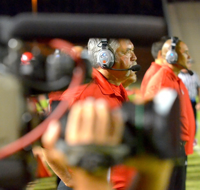Lahainaluna's football program and its long-time co-head coach Bobby Watson can no longer avoid the lights, cameras and spoils that come with being the No. 1 ranked Division II football team in the state. Photo by Rodney S. Yap.