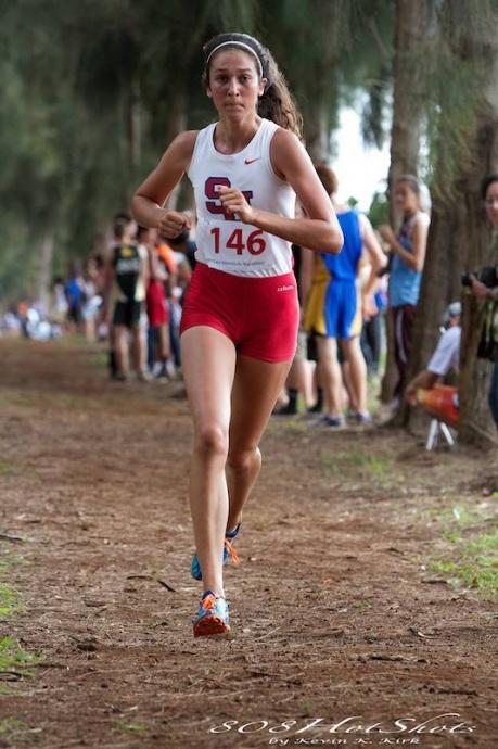Seabury Hall's Dakota Grossman won her fourth consecutive state cross country championship on Kauai, Friday, Oct. 25. Photo by 808HotShots / Kevin Kirk photo.