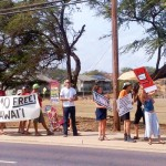"GMO Free Maui hosted a ""Bee The Change"" March against Monsanto on Saturday, Oct. 12, 2013, along Kaʻahumanu Avenue in Kahului."