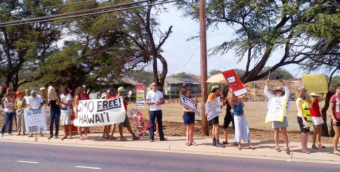 "GMO Free Maui hosted a ""Bee The Change"" March against Monsanto on Saturday, Oct. 12, 2013, along Kaʻahumanu Avenue in Kahului."