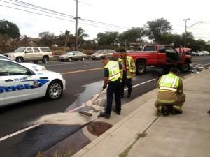 Mahalani traffic crash, 10/3/13. Photo courtesy Skippy Hau.