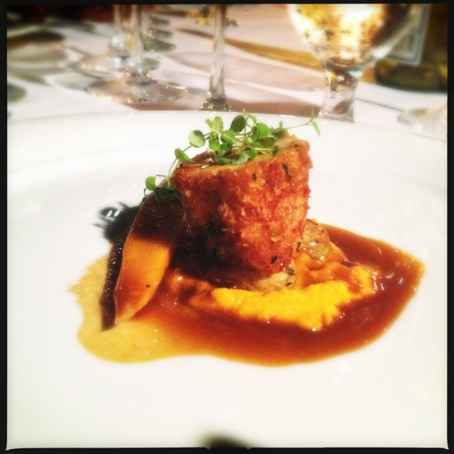 Chef McDowell's Stuffed Roulade of Chicken from a previous wine dinner.