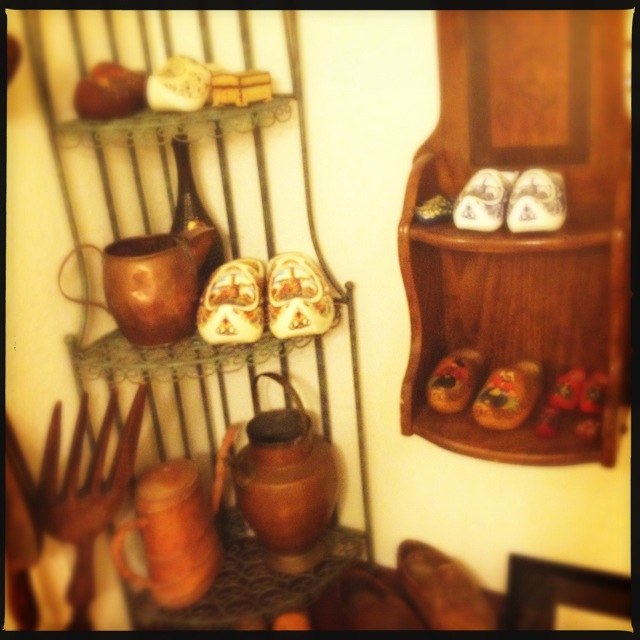 All kinds of clogs await you in the ladies' room. Perhaps Brigit is Dutch? Photo by Vanessa Wolf