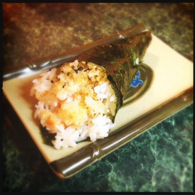 Waynes Garlic Shrimp Hand Roll. Photo by Vanessa Wolf