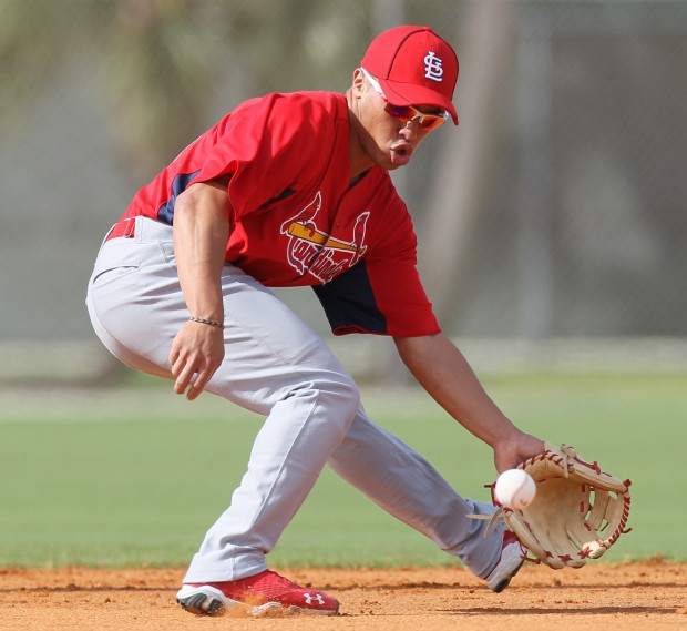 Former Kamehameha-Hawaii and University of Hawaii star Kolten Kaha Wong is on the St. Louis Cardinals roster as a reserve second baseman.  Photo courtesy of www.stltoday.com.