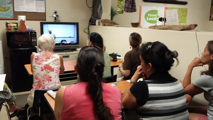"Eight participants at Kuha'o Business Center (Moloka'i) attend the ""Beat the Banks"" workshop, videoconferenced from Maui County Business Resource Center. Photo courtesy County of Maui."