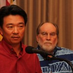 Lt. Gov. Shan Tsutsui (left) and Governor Neil Abercrombie (right).  Photo courtesy, Office of the Governor.