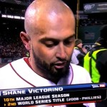 Maui-born Shane Victorino talks to Fox Sports after the Boston Red Sox defeated the St. Louis Cardinals, 6-1, on Wednesday to win the World Series. Photo from Fox Sports TV.