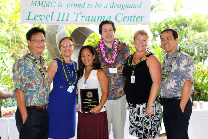 L to R: Wesley Lo, Maui Region CEO; Dr. Linda Rosen; Anna Marie Later; Dr. Arthur Chasen; Sherry Lauer, State of Hawaii Trauma Coordinator and Dr. Les Chun.