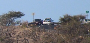 Car over cliff at Māʻalaea, Oct. 25, 2013.  Photo by Wendy Osher.