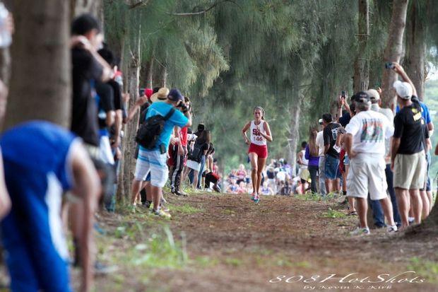 Seabury Hall's Dakota Grossman leads the girls race at the state cross country championships on Kauai last Friday, Oct. 25. Photo by 808HotShots / Kevin Kirk.