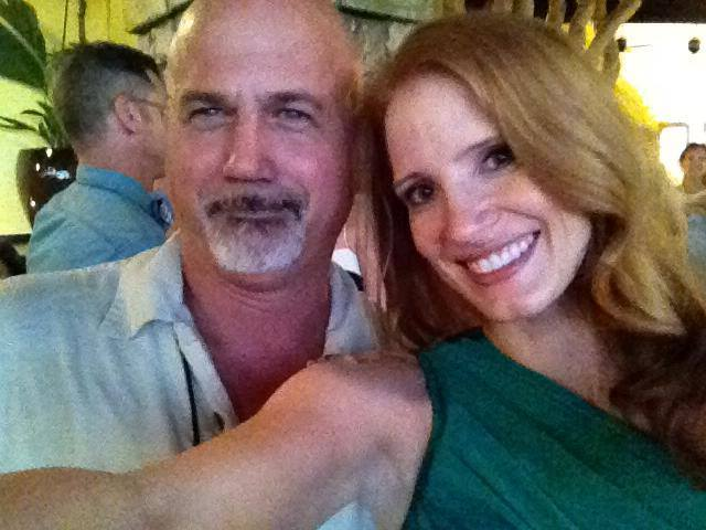 Former Maui film commissioner Harry Donenfeld with Jessica Chastain, main actor of Zero Dark Thirty. Courtesy photo.