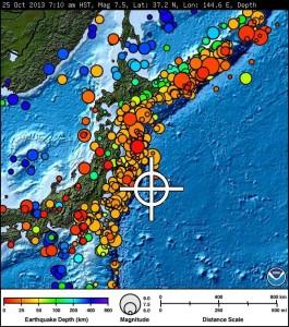 Honshu, Japan earthquake, Oct. 25, 2013. Mapping courtesy Pacific Tsunami Warning Center.