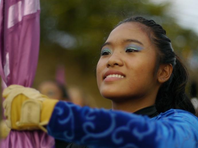 MHS Color Guard at the Maui Fair Parade, Oct. 3, 2013. Photo courtesy Kerry Wasano / MHS Band - Tanaka Gallery.