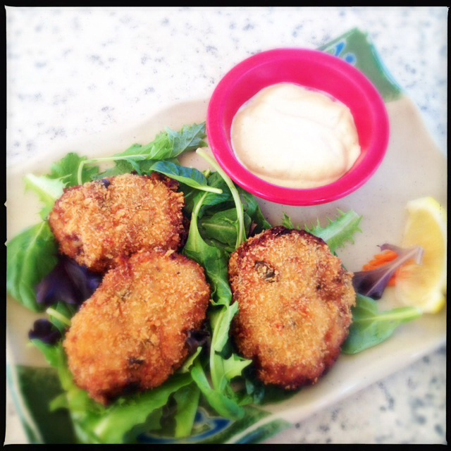 The Blue Crab Crab Cakes are more cake than crab. Photo by Vanessa Wolf