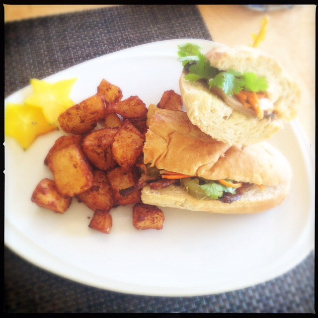 The Char Siu Banh Mi and Homefries. Photo by Vanessa Wolf