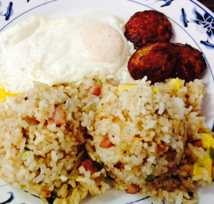 Fried Rice, Portuguese Sausage and an Over-Easy Egg. Photo by Vanessa Wolf