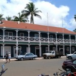 The historic Pioneer Inn in Lahaina, opposite the wharf. Photo by Barry Reynolds.