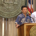 Lieutenant Governor Shan Tsutsui provides a briefing on the federal government shutdown. Image grab from government streaming via USTREAM.