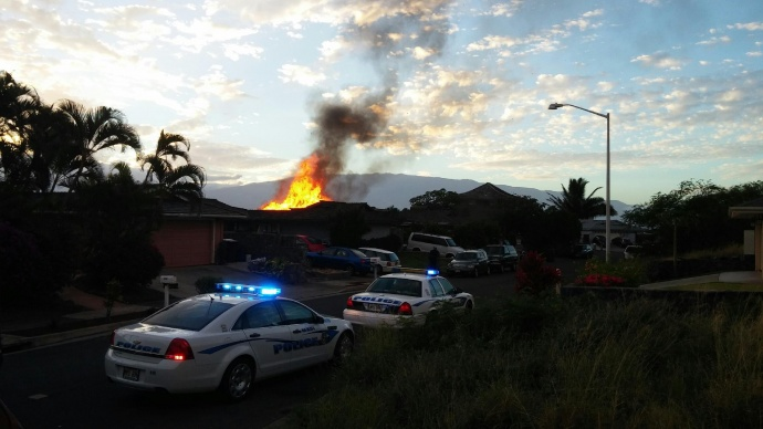 Waiehu house fire on Kakae Place. Photo courtesy Lesley Cummings.