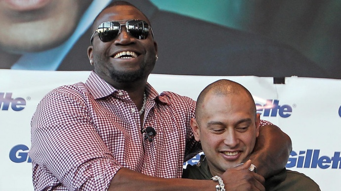 David Ortiz and Shane Victorino mug for the cameras after getting their faces shaved during the Gillette Beard Shave-Off earlier this month. Photo by Matt Stone / Boston Herald.com.