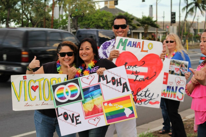 A group of supporters celebrated the Senate passage of SB1 HD1 on Maui during a sign waving demonstration along Kaʻahumanu Avenue on Tuesday afternoon. Photo by Wendy Osher.