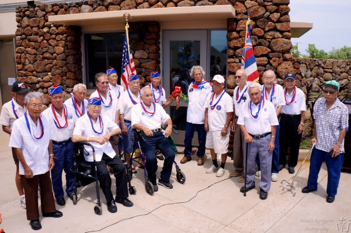 Nisei Veterans at the opening ceremony of the Nisei Veterans Memorial Center, Education Center. File photo Credit: Melanie Agrabante.