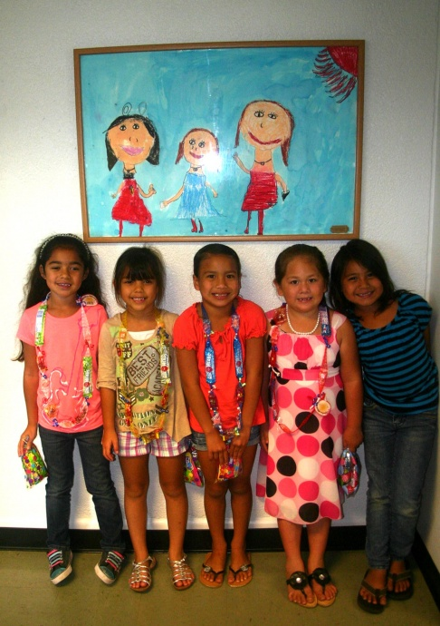 Shown here with student art are contest winners left to right: Waihe'e Elementary School students: Lilinoe Mederios, Shaylee Herrick, Jalyssa  Miguel, Tasha Caulford, and Sarai Opiana-Glass Robinson. Courtesy photo.
