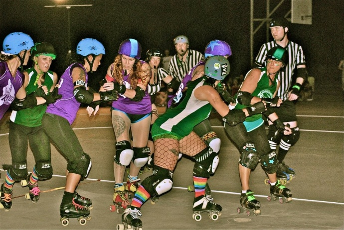 "A moment from Maui Roller Girls ""2013 Battle of the Islands."" Courtesy photo"