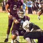 Baldwin High School's offense will be led by senior center Noah Apolo and sophomore quarterback Jonovan-Tage Akaka-Foster (2). File photo by Rodney S. Yap.