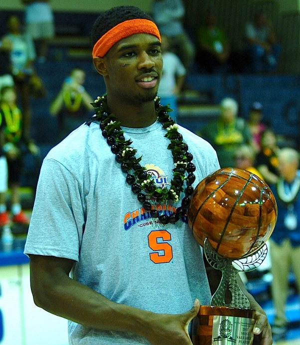 Syracuse C.J. Fair holds the tournament MVP trophy Wednesday at the Lahaina Civic Center. Photo by Joel B. Tamayo.