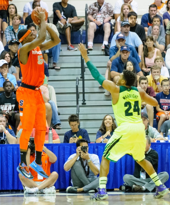 Syracuse's C.J. Fair shots this baseline jumper over Baylor's Ish Wainright (24) in Wednesday's championship game of the Maui Invitational Tournament. Photo by Denton Johnson.