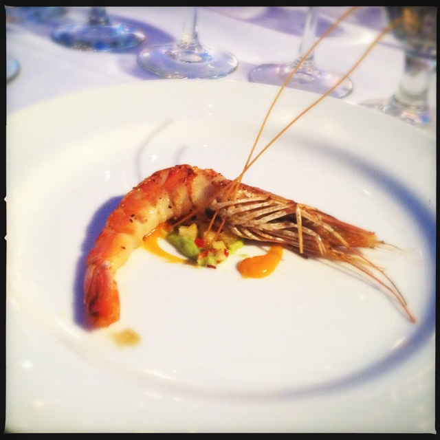 A Madagascar Grilled Prawn from a previous Makena wine dinner. Photo by Vanessa Wolf