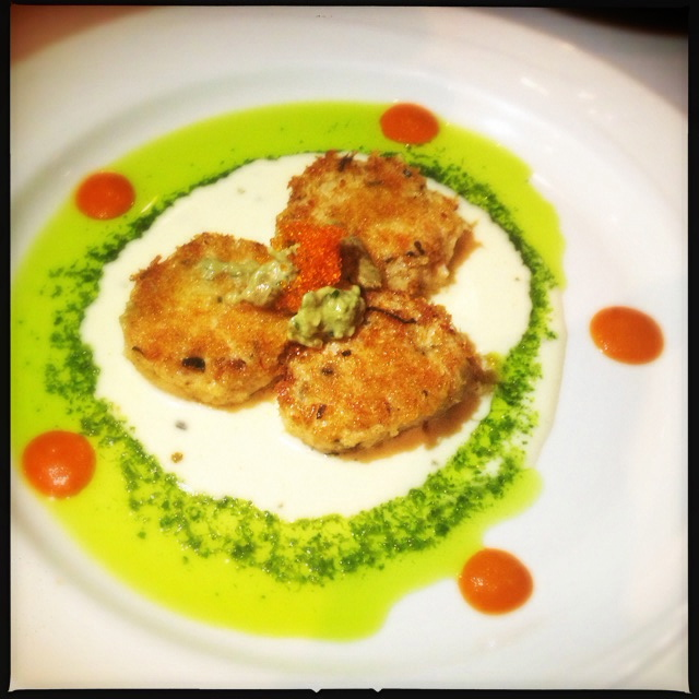 The Crab Cakes look a little bit like Christmas. Photo by Vanessa Wolf
