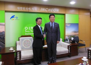 Mayor of Incheon Song Young Gil and; Lt. Gov. Tsutsui. Courtesy photo.