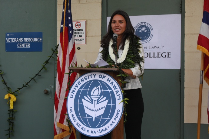 Congresswoman Tulsi Gabbard addresses the gathering. Photo courtesy UHMC.