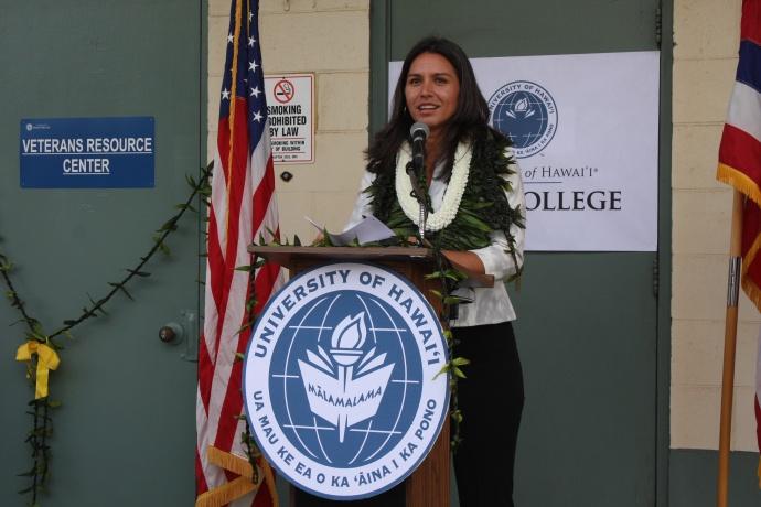 Congresswoman Tulsi Gabbard addresses the gathering. Photo courtesy UHMC.