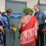 Kimokeo Kapahulehua blesses the Veteran's Resource Center. Photo courtesy UHMC.
