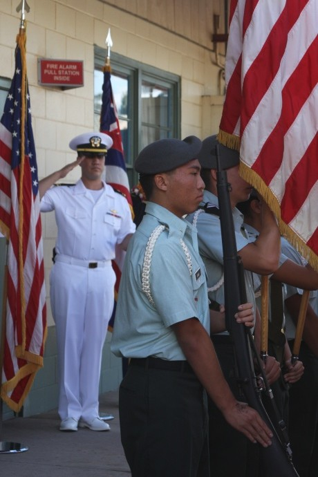 H.P. Baldwin H.S. Army JROTC saluted by Damien Cie (left), UH Maui College. Photo courtesy UHMC.