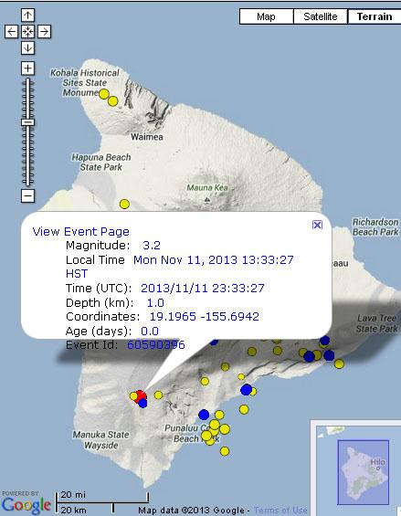 Hawaiʻi Island earthquake, Nov. 11, 2013.