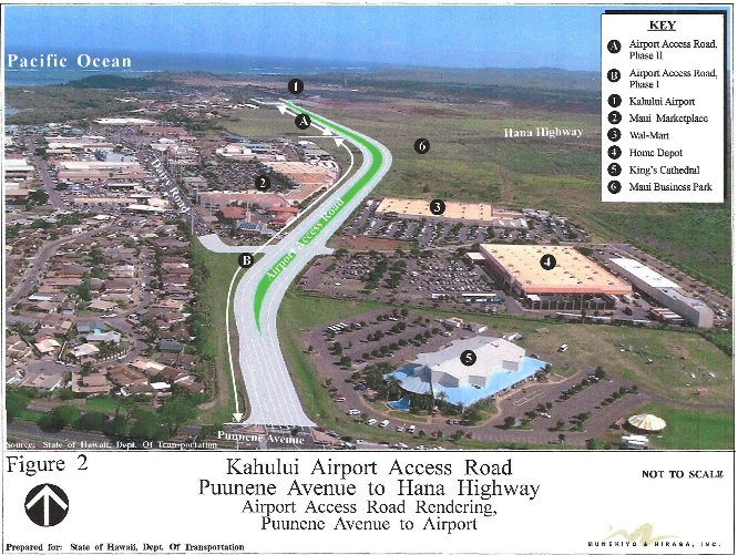 Kahului Airport Access Road map rendering, courtesy Munekiyo & Hiraga Inc. prepared for the State Department of Transportation as part of an EA & EIS, March 2012.