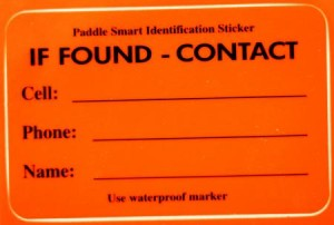 """Through the Operation Paddle Smart Program, the Coast Guard offers a free, weatherproof and reflective, self-adhesive """"If Found"""" decal to be placed in a visible location on small, human-powered (unregistered) watercraft.  Photo by Petty Officer 3rd Class Melissa McKenzie."""
