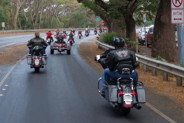 Motorcycle club passing through Lahaina. Photo courtesy of Motorcycle Maui Facebook page.